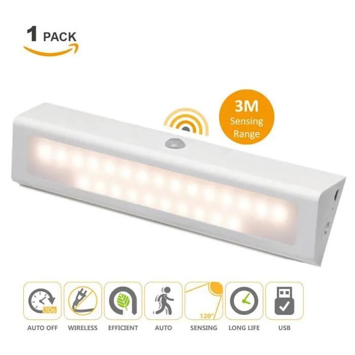rechargeable batterie lampe veilleuse de nuit led avec detecteur de mouvement sans fil blanc chaud eclairage armoire meuble cuisine