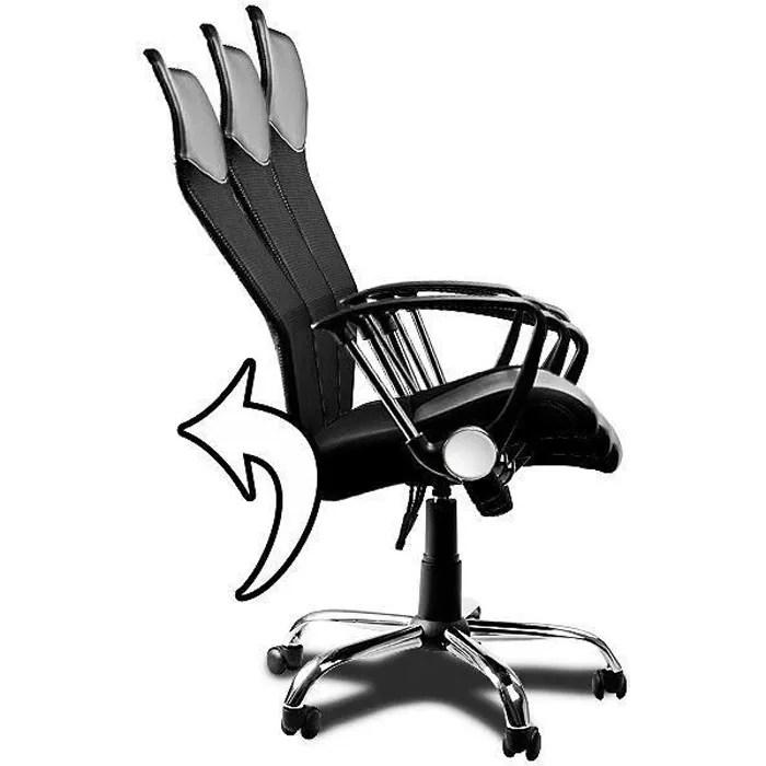 fauteuil chaise de bureau noir inclinable ergonomique design moderne