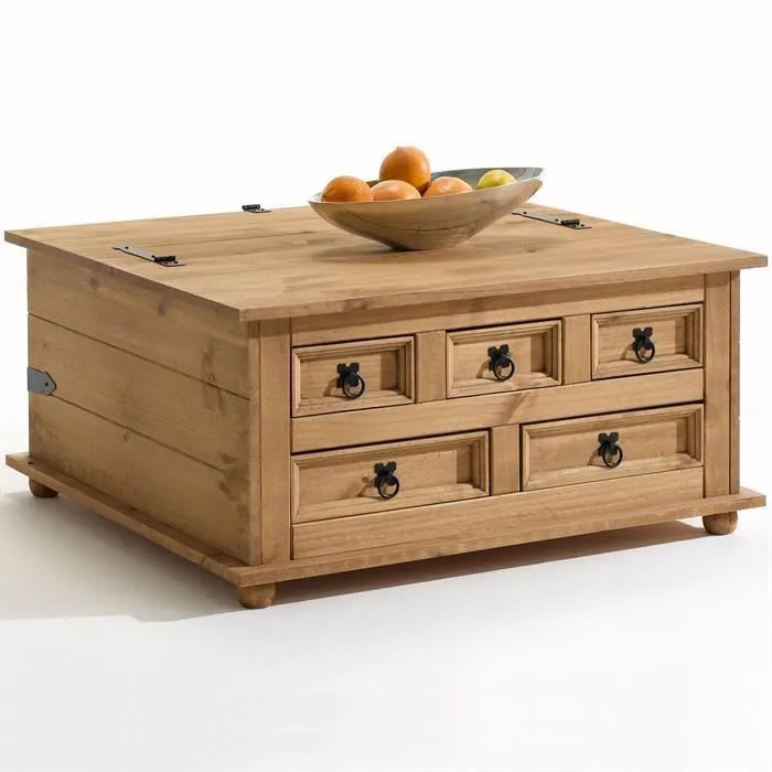 Table Basse Coffre Rangement Pin Massif Style Mexicain