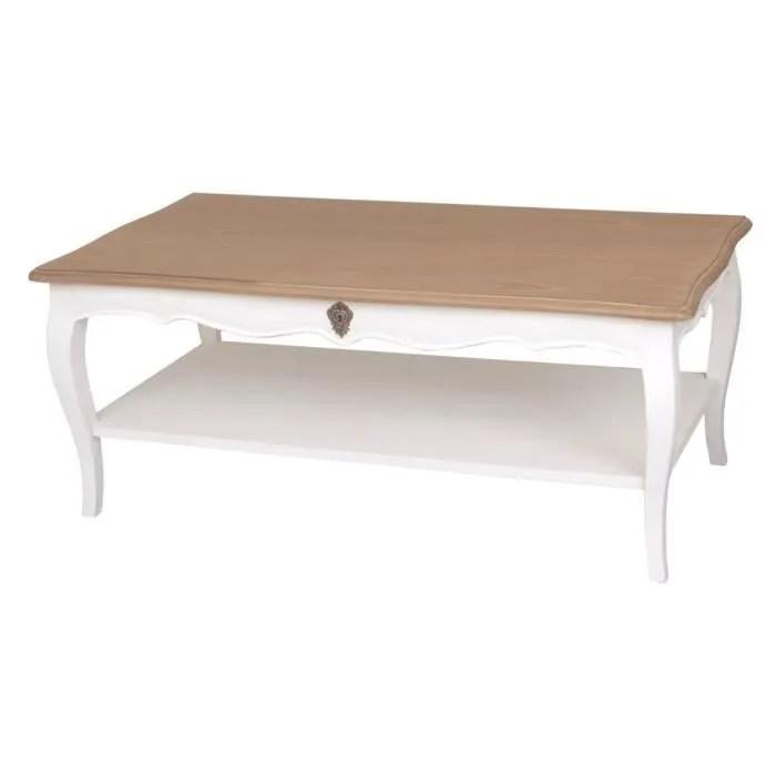 table basse rectangulaire avec plateau en bois massif 110cm pauline blanc