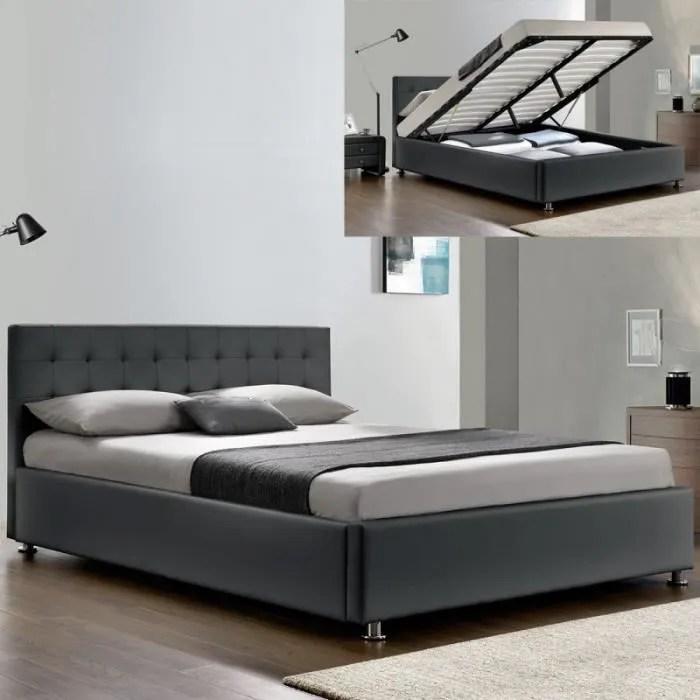 lit complet sommier relevable tete de lit cadre de lit capitole gris 160x200