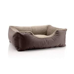 lit pour chien beddog teddy canape coussin panier corbeille lavable avec bordure s env 55x40cm melange brun beige