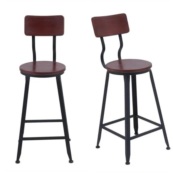 lot de 2 tabourets de bar industriel chaise haute de salle a manger en metal bois l 34 x p34 x h 95 cm