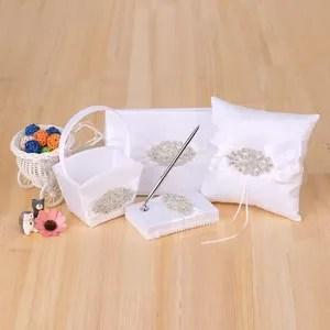 4 pcs set fournitures de mariage satin fleur fille panier anneau bearer oreiller livre d or stylo titulaire avec strass