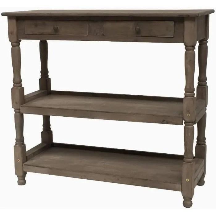 meuble console table de drapier etagere a tiroir bois 100 cm