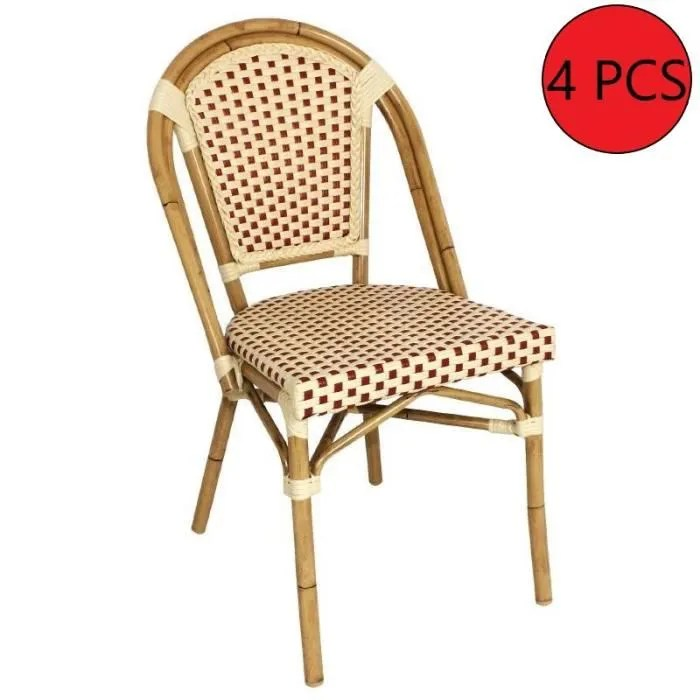 chaise chaise rotin rouge beige 4 unites