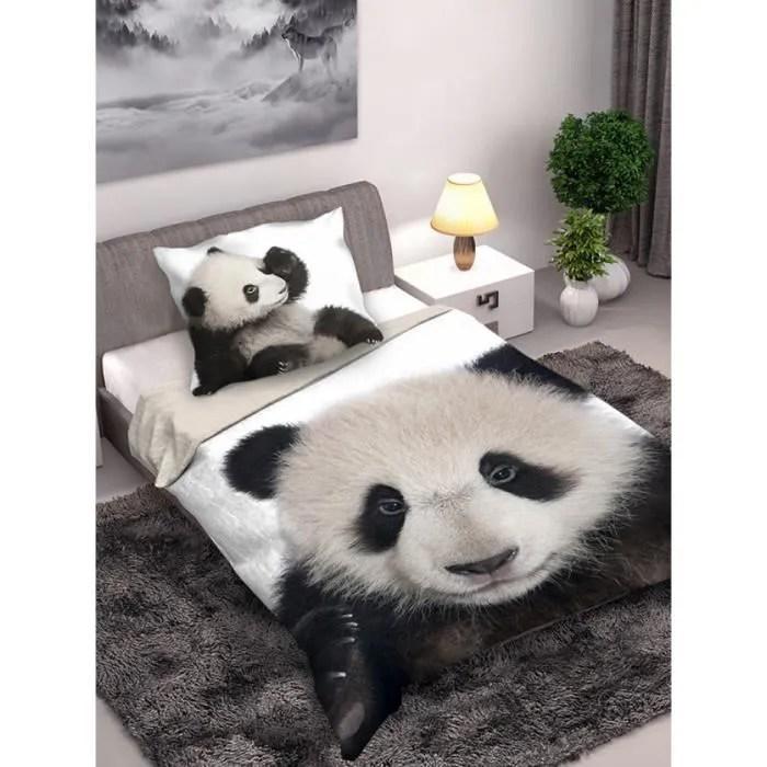 Housse De Couette En Coton Panda Et Taie Doreiller