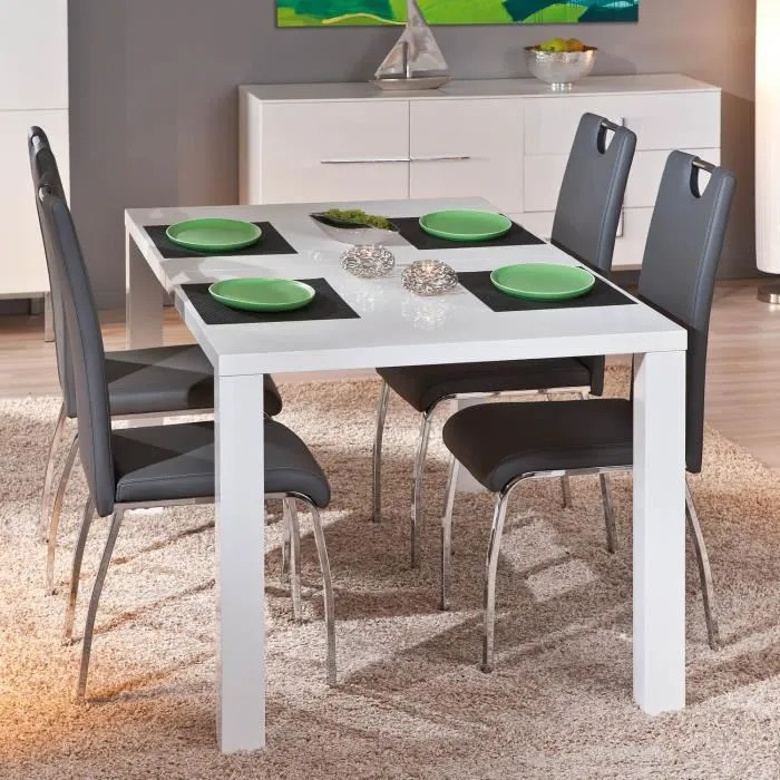 table rectangulaire meuble cuisine salle manger design extensible blanc laque