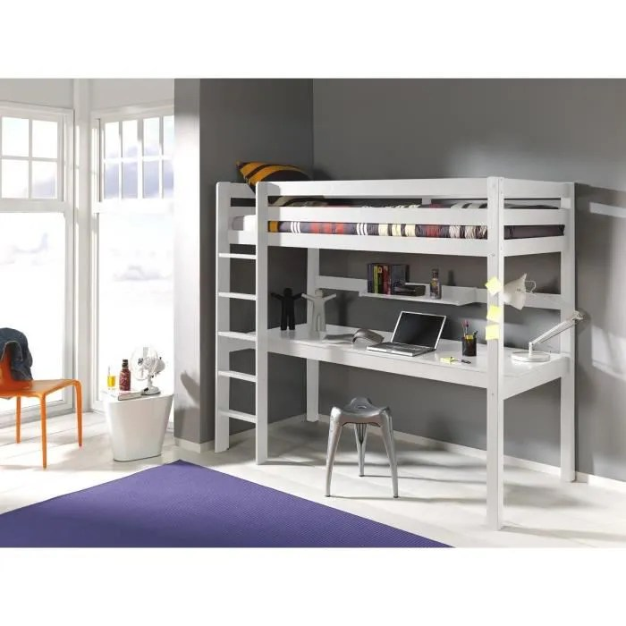 lit mezzanine avec bureau ruben 90x200 blanc