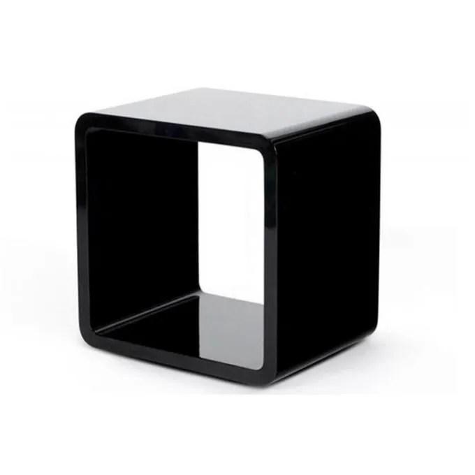 chevet cube noir laque 45x35x45cm