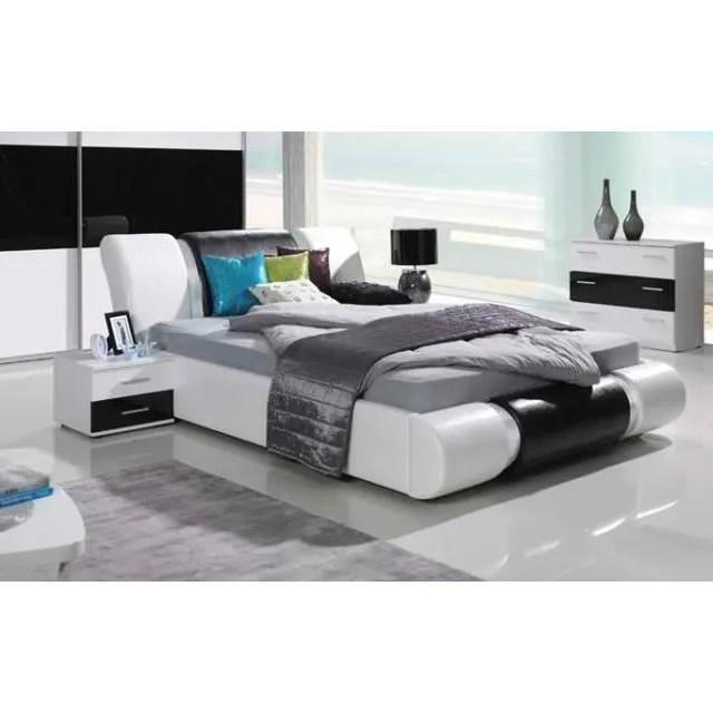 ensemble meubles design pour chambre a coucher texas blanc et noir laque lit 2 chevets commode