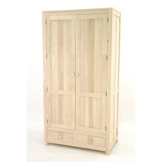 colonial armoire 2 portes 2 tiroirs rapanui finition bois brut hevea bois brut achat vente armoire de chambre colonial armoire 2 portes 2