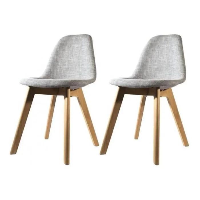 chaise lot de 2 chaises scandinave en tissu grise fjord