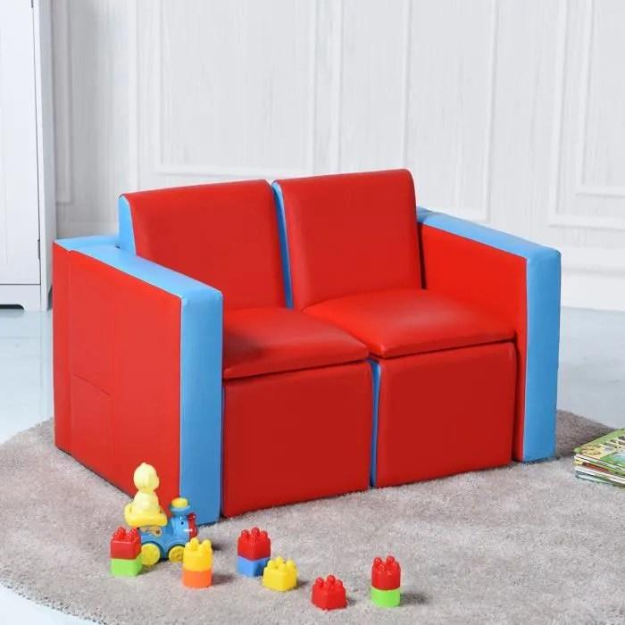 sofa enfant canape lit enfant ensemble table et chaise enfants transformable avec espace de stockage rouge et bleu