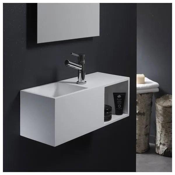 Lave Mains En Solid Surface Arezzo 54x20 Cm Avec Espace De