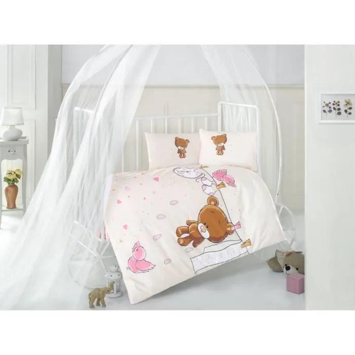ensemble de housse de couette pour lit de bebe rose teddy bear v1 100 coton ensemble de literie doux et sain 4 pieces