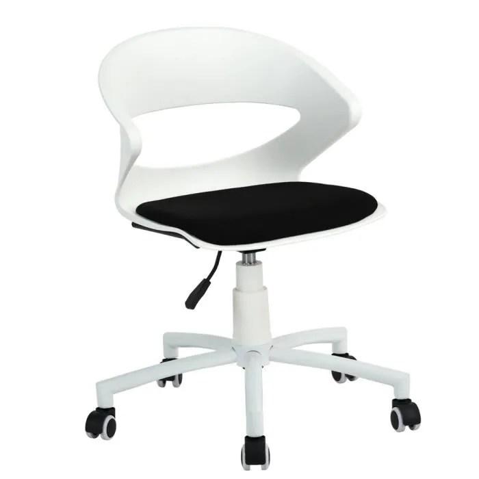 chaise de bureau moderne reglable en plastique tissu mousse noir blanc a roulettes pivotant durable