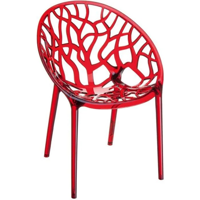 chaise chaise moderne geo rouge transparent en