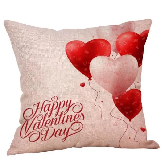 45cm 45cm valentine heureux coeur d amour taie d oreiller linge canape lit maison decor pac3695987