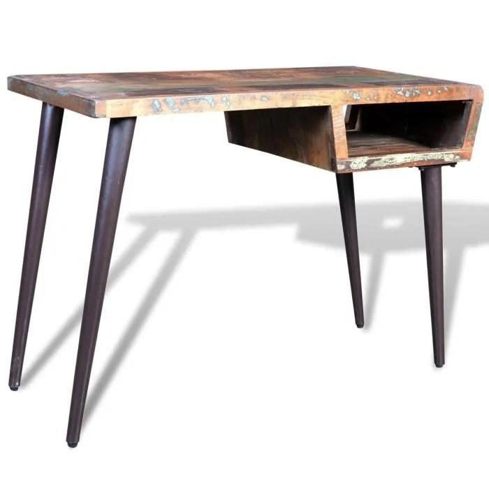 p100 bureau en bois recycle avec des pieds en acier