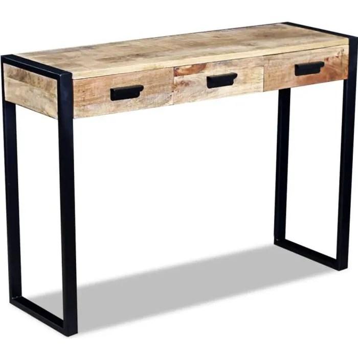 vidaxl table console avec 3 tiroirs bois de manguier massif 110 x 35 78 cm