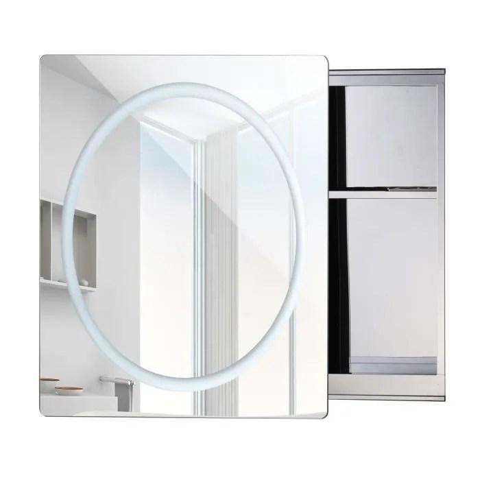 miroir lumineux led armoire murale design de salle de bain 2 en 1 acier inoxydable 60l x 13l x 60h cm neuf 56