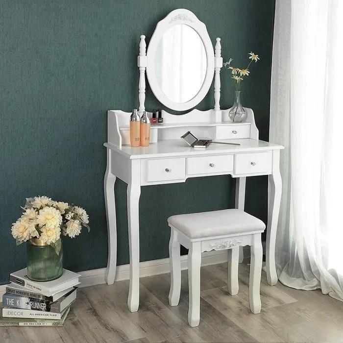 Coiffeuse Table Blanche De Maquillage Avec Miroir 5