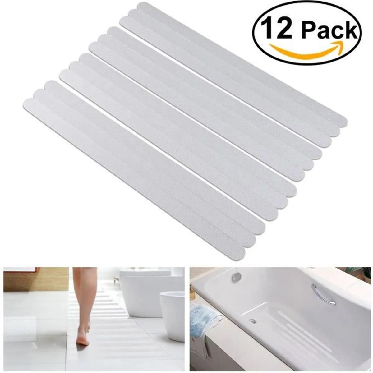 12pcs bandes autocollants antiderapantes pour baignoire douche blanc