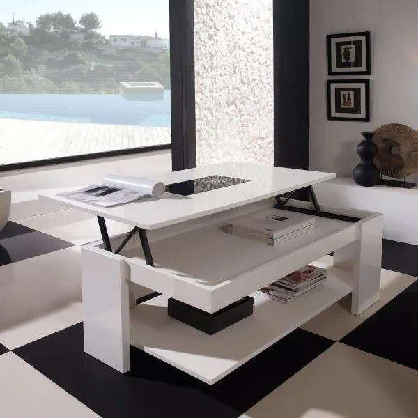 Table Relevable Blanc Laque