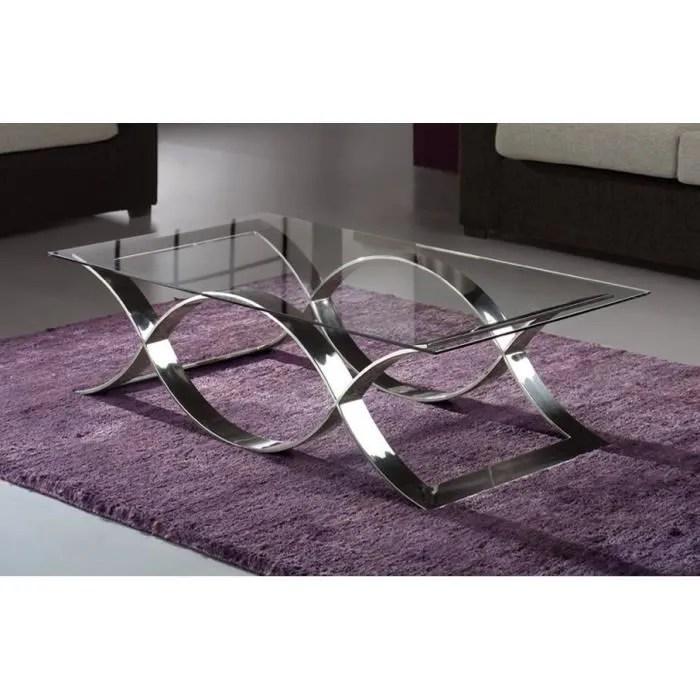 Table Basse DESIGN MTAL Et Verre 130x70 Cm Achat