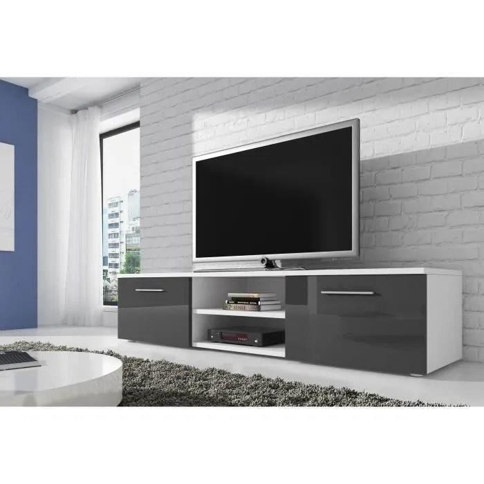 vegas meuble tv contemporain decor blanc et gris 150 cm