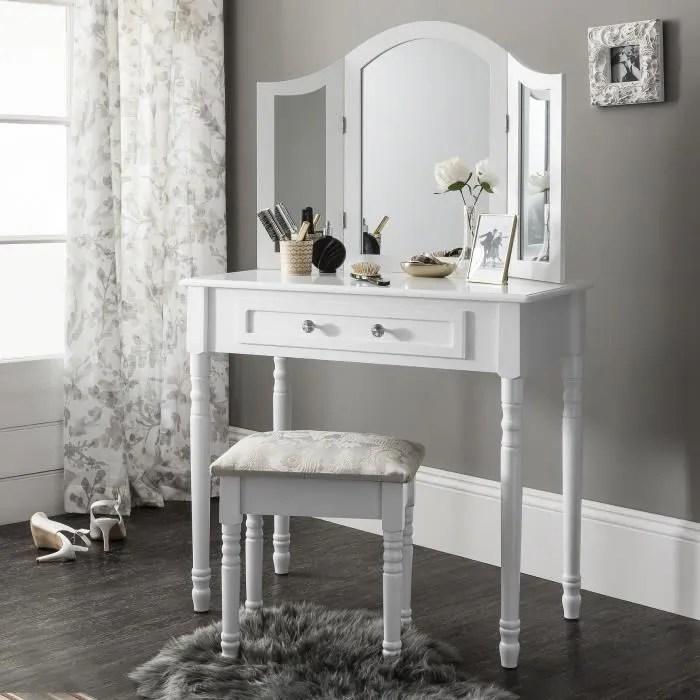 sienna set coiffeuse avec miroir et tabouret blanc