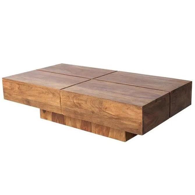 casa padrino table basse design en bois massif nature 110 x 30 cm table de salon