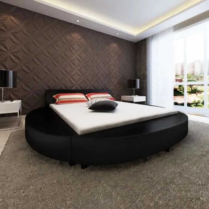 vidaxl cadre de lit rond 180 x 200 cm cuir artificiel noir