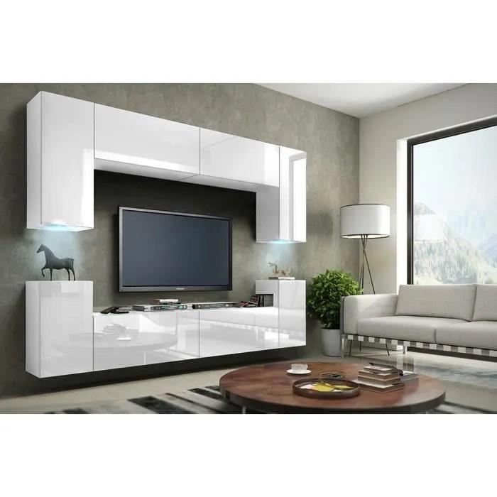 meuble de salon meuble tv complet suspendu concept corps blanc mat facades laquees brillantes led meuble design et tendance