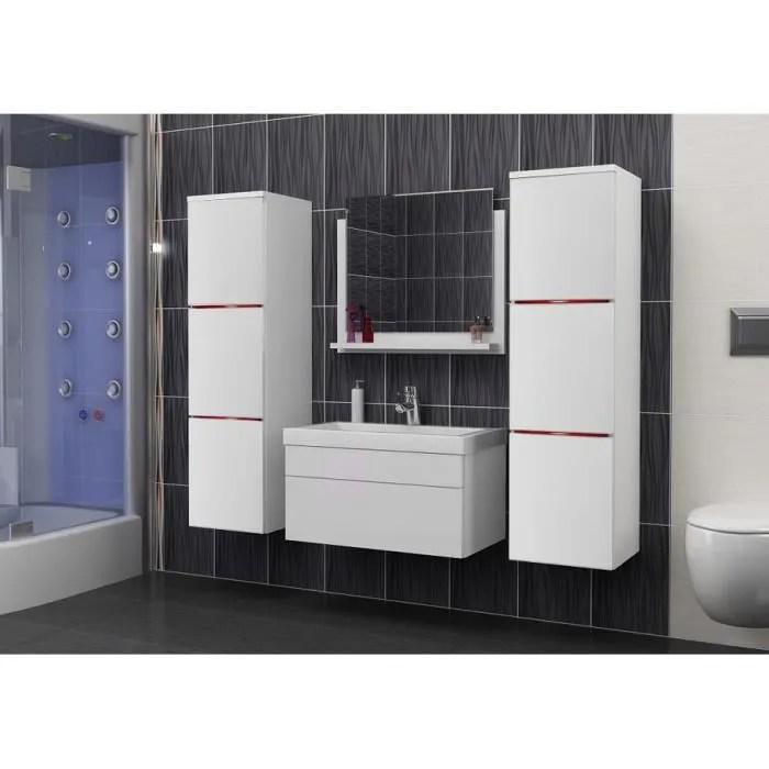salle de bain complete luna blanc mat led vasque en ceramique miroir meuble design suspendu