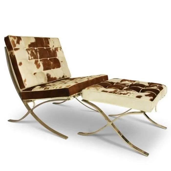 chaise barcelona avec ottoman peau de vache marron et blanc