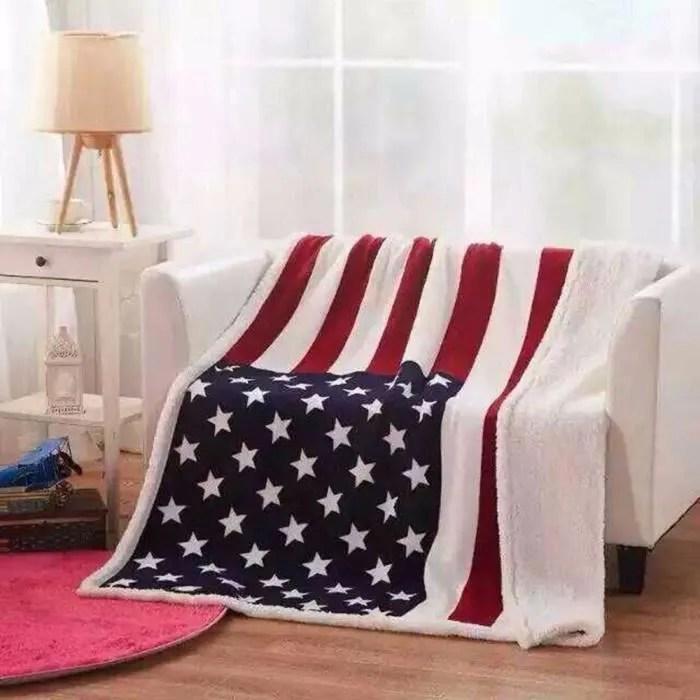 couverture polaire pour canape lit parure de draps polaire 130cm 160cm drapeau americain