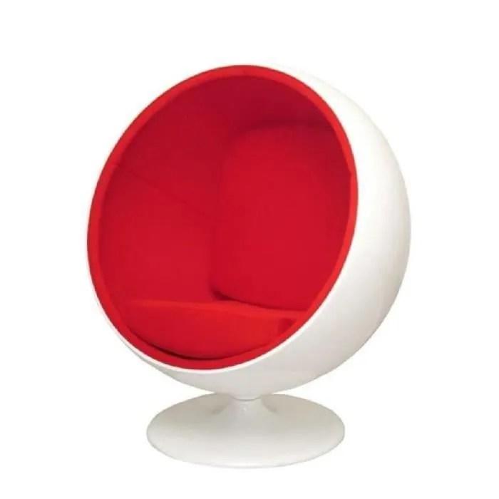 fauteuil ball chair eero aarnio en fibre de verre base tournante blanc revetement noir bleu vert orange rose violet blanc replique