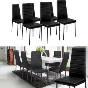 lot de 6 chaises salle a manger noires