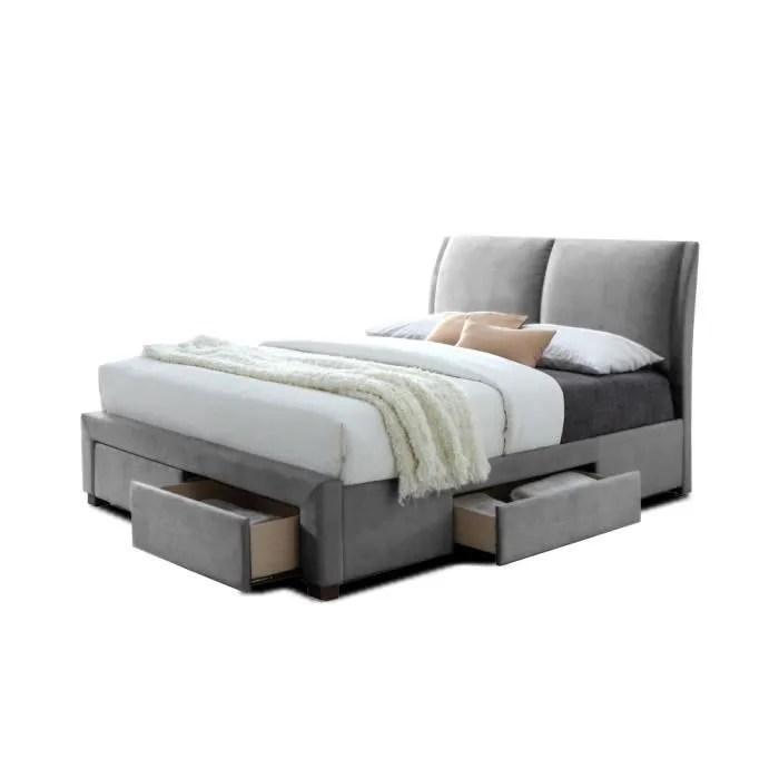 lit double avec 4 tiroirs et sommier velletri 160 x 200 cm gris