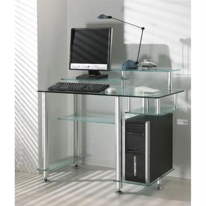 bureau design en verre transparent high desk