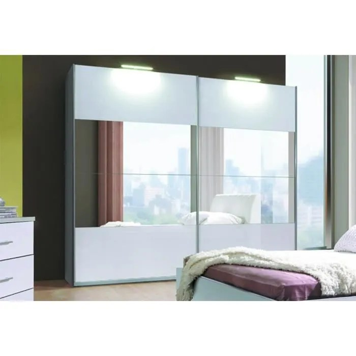 armoire 2 portes coulissantes verona blanche laquee avec miroirs meuble entierement equipe ideal pour votre chambre a coucher