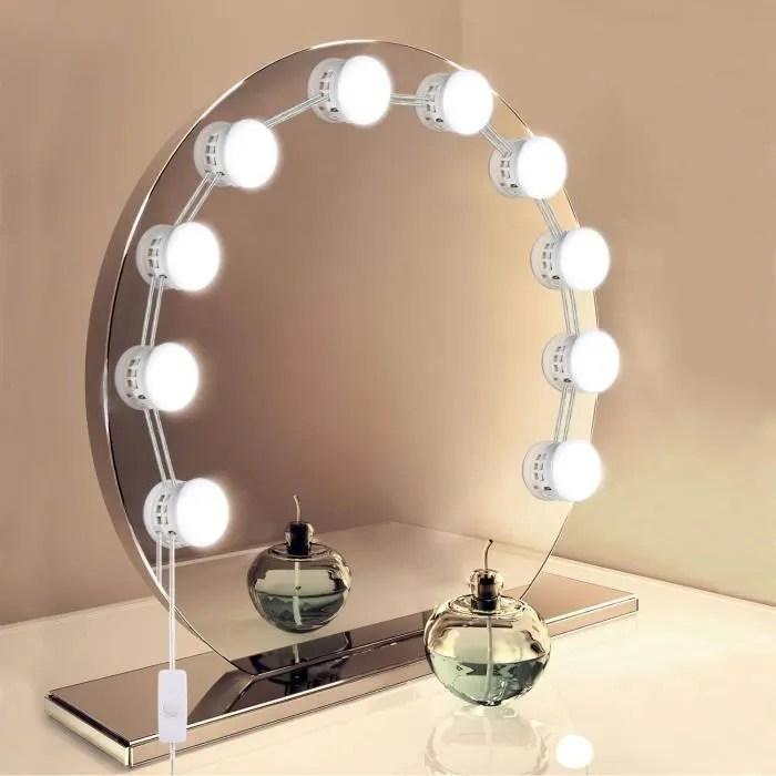 lampe de miroir led eclairage de maquillage usb 10 ampoules kit lampe distance adjustable guirlande lumineuses eclairage