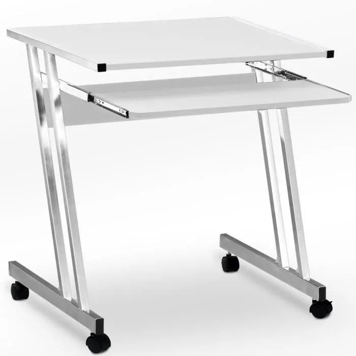 bureau informatique avec tiroir coulissant clavier 62x48x73cm blanc