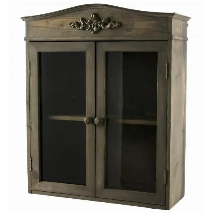 etagere de rangement murale vitree facon petite armoire a pharmacie en bois a 2 portes 15x40x48cm