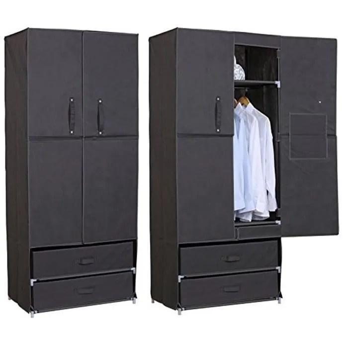 armoire penderie en tissu penderie dressing pliant armoire de chambre en toile avec porte et tiroirs 74x46x172cm gris