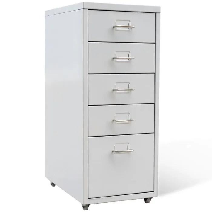 classeur suspendu metal 5 tiroirs gris armoire de bureau rangement armoire avec des roulettes