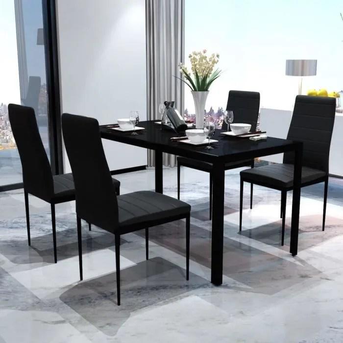 ensemble de table pour salle a manger cinq pieces noir