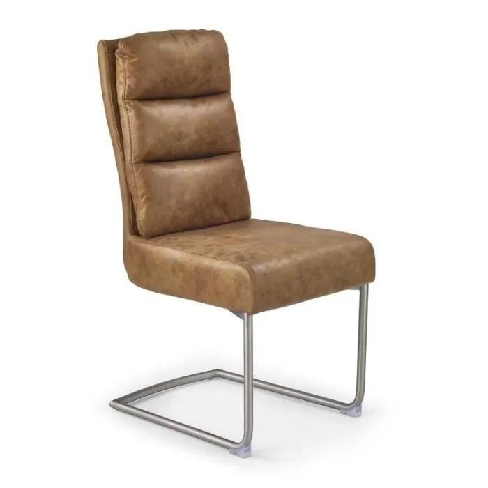 chaise lot de 4 chaises simili cuir marron